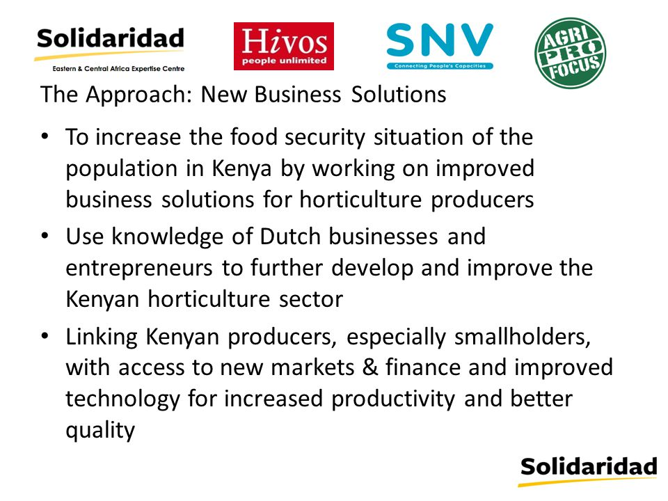 The Approach: New Business Solutions To increase the food security situation of the population in Kenya by working on improved business solutions for horticulture producers Use knowledge of Dutch businesses and entrepreneurs to further develop and improve the Kenyan horticulture sector Linking Kenyan producers, especially smallholders, with access to new markets & finance and improved technology for increased productivity and better quality