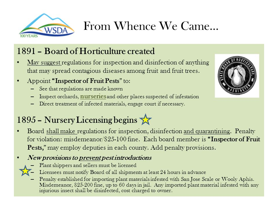 From Whence We Came… 1897 – Board Commissioner of Horticulture State: Commissioner makes rules and regulations; handles nursery licensing; enforces laws on import and sale of fruit, fruit trees, plants or nursery stock; publishes bulletins on eradicating fruit pests and scientific discoveries of interest.