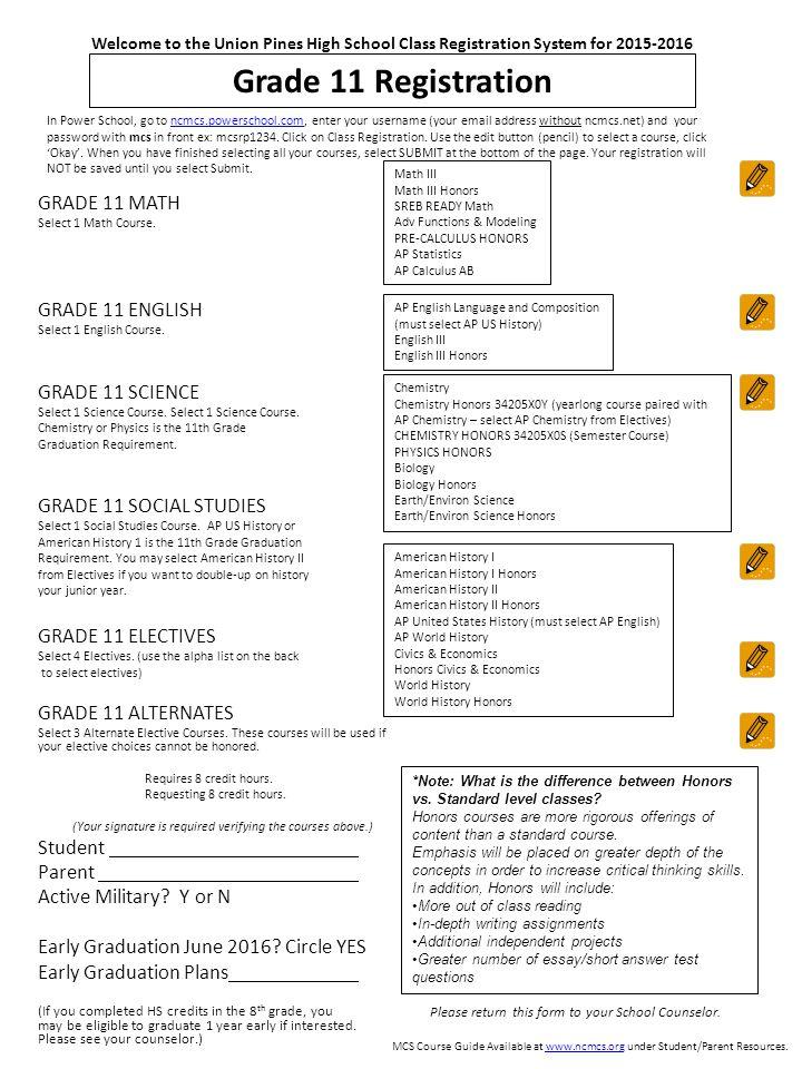 Grade 11 Registration GRADE 11 MATH Select 1 Math Course.