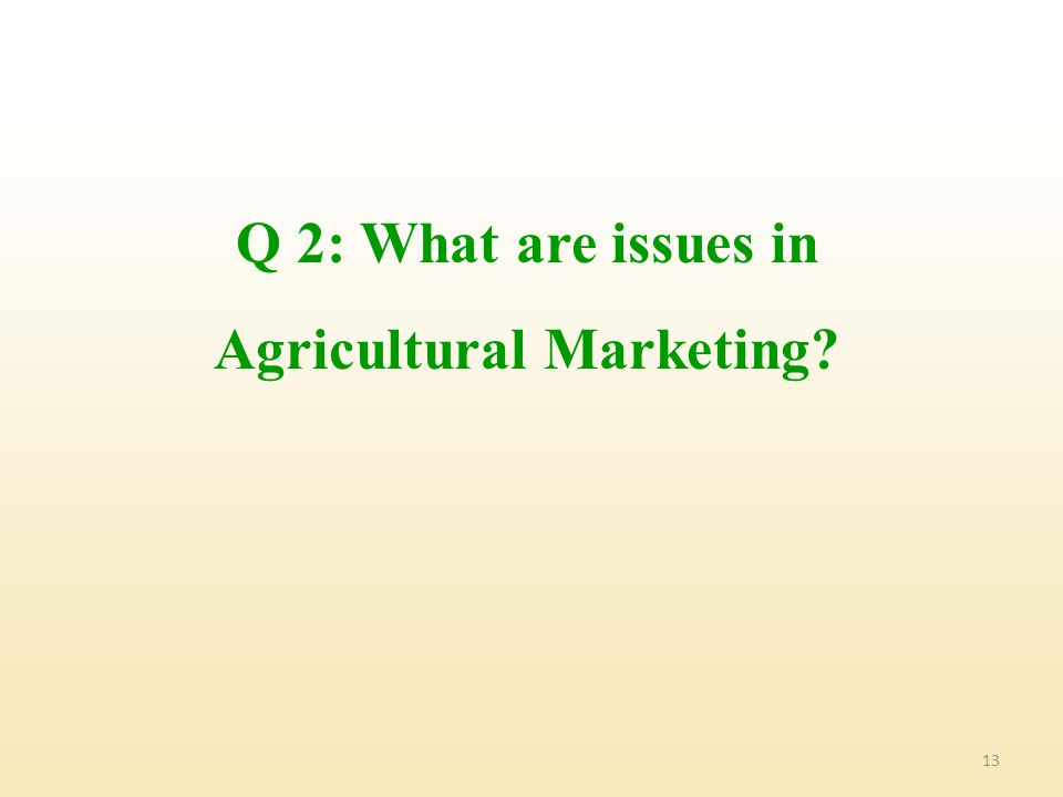 13 Q 2: What are issues in Agricultural Marketing?