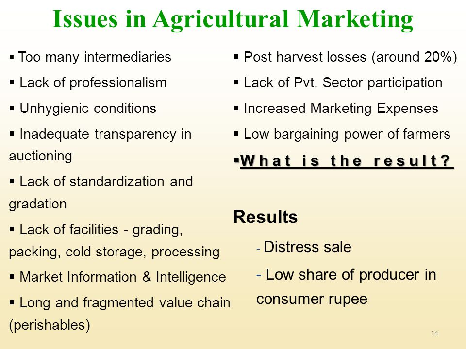 14  Too many intermediaries  Lack of professionalism  Unhygienic conditions  Inadequate transparency in auctioning  Lack of standardization and gradation  Lack of facilities - grading, packing, cold storage, processing  Market Information & Intelligence  Long and fragmented value chain (perishables)  Post harvest losses (around 20%)  Lack of Pvt.