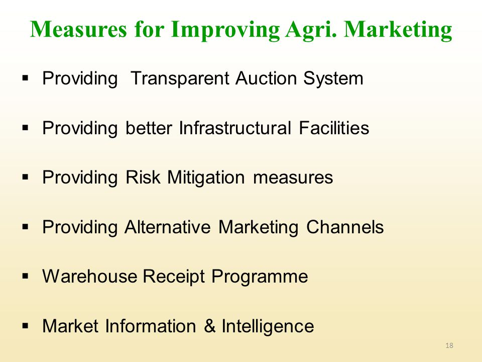 18 Measures for Improving Agri.