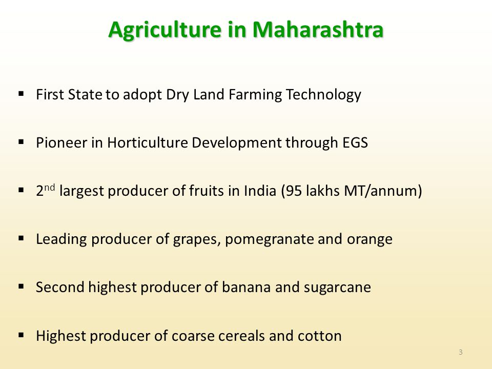 3 Agriculture in Maharashtra  First State to adopt Dry Land Farming Technology  Pioneer in Horticulture Development through EGS  2 nd largest producer of fruits in India (95 lakhs MT/annum)  Leading producer of grapes, pomegranate and orange  Second highest producer of banana and sugarcane  Highest producer of coarse cereals and cotton