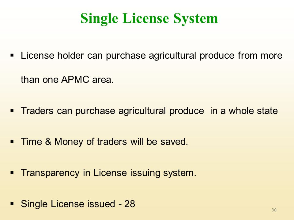 30  License holder can purchase agricultural produce from more than one APMC area.