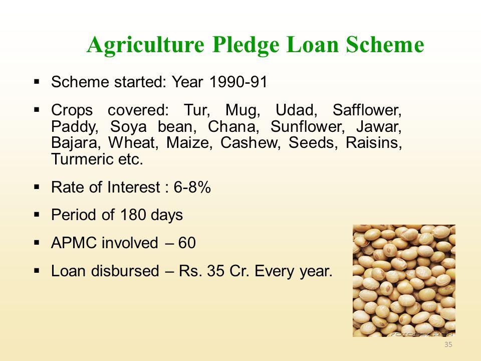 35 Agriculture Pledge Loan Scheme  Scheme started: Year 1990-91  Crops covered: Tur, Mug, Udad, Safflower, Paddy, Soya bean, Chana, Sunflower, Jawar, Bajara, Wheat, Maize, Cashew, Seeds, Raisins, Turmeric etc.