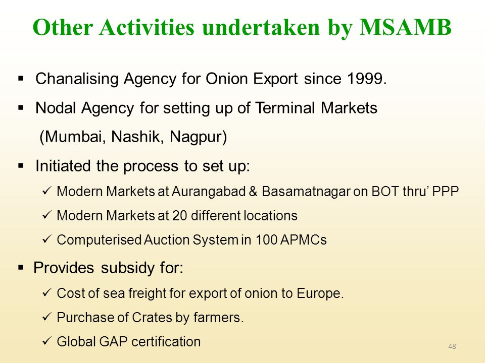 48 Other Activities undertaken by MSAMB  Chanalising Agency for Onion Export since 1999.