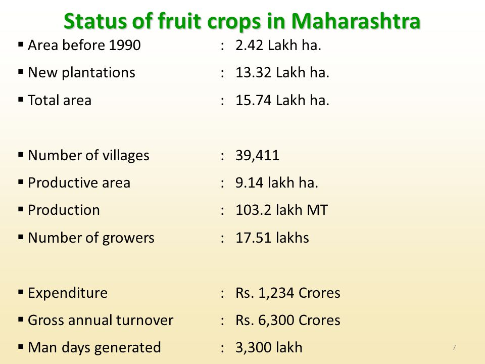 7 Status of fruit crops in Maharashtra  Area before 1990:2.42 Lakh ha.