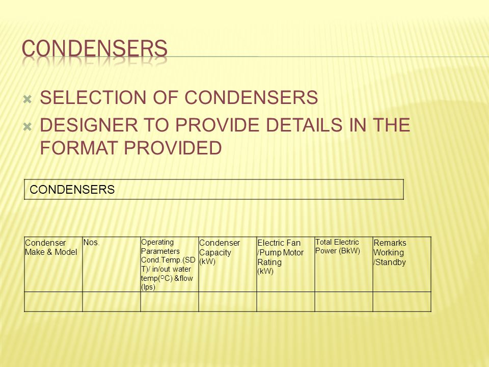  SELECTION OF CONDENSERS  DESIGNER TO PROVIDE DETAILS IN THE FORMAT PROVIDED CONDENSERS Condenser Make & Model Nos.