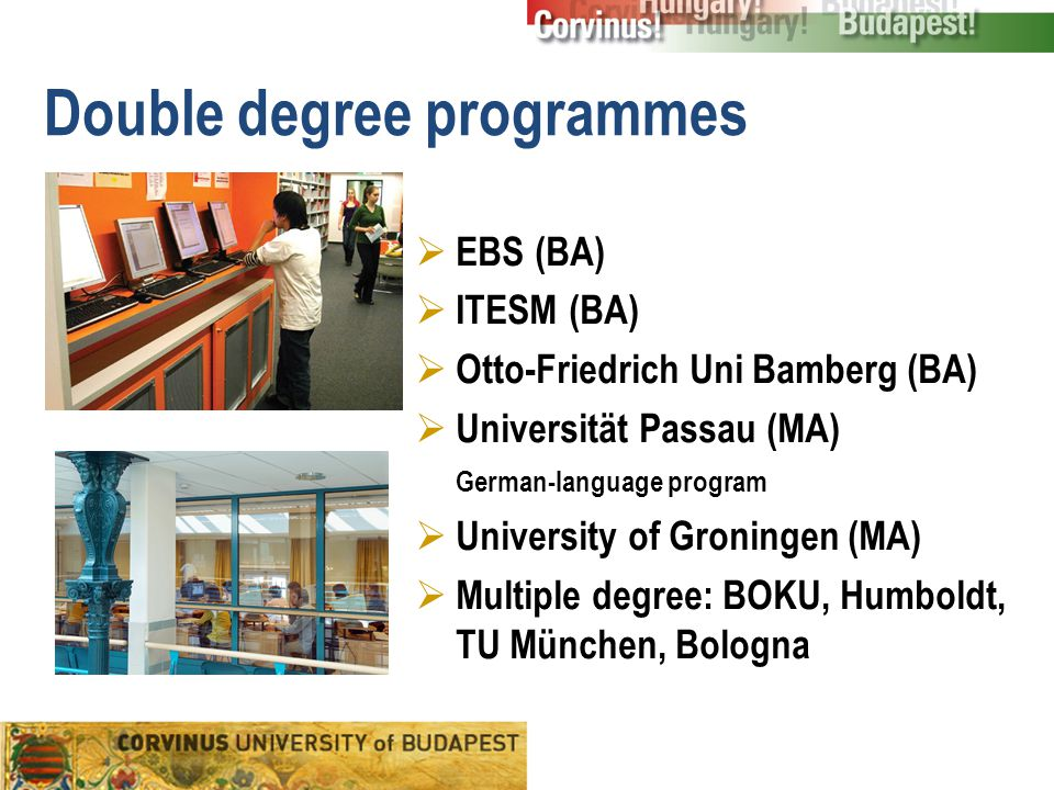 Double degree programmes  EBS (BA)  ITESM (BA)  Otto-Friedrich Uni Bamberg (BA)  Universität Passau (MA) German-language program  University of Groningen (MA)  Multiple degree: BOKU, Humboldt, TU München, Bologna