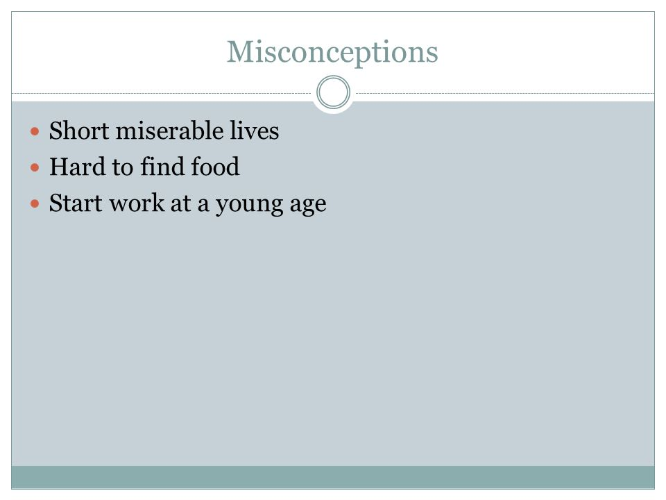 Misconceptions Short miserable lives Hard to find food Start work at a young age