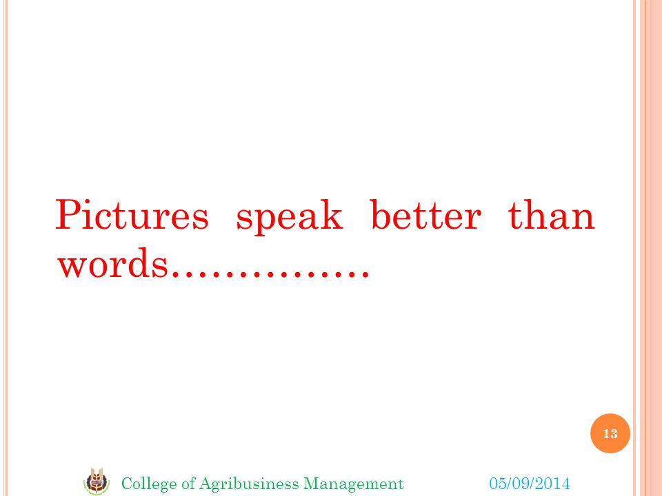 College of Agribusiness Management05/09/2014 Pictures speak better than words…………… 13