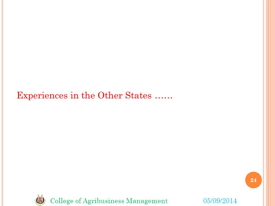 College of Agribusiness Management05/09/2014 Experiences in the Other States …… 24