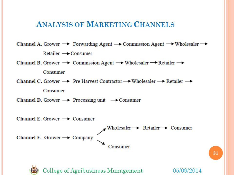 College of Agribusiness Management05/09/2014 A NALYSIS OF M ARKETING C HANNELS 31