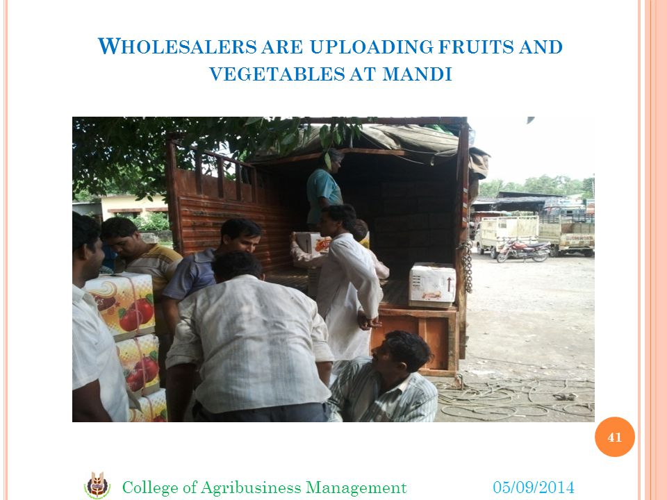 College of Agribusiness Management05/09/2014 W HOLESALERS ARE UPLOADING FRUITS AND VEGETABLES AT MANDI 41