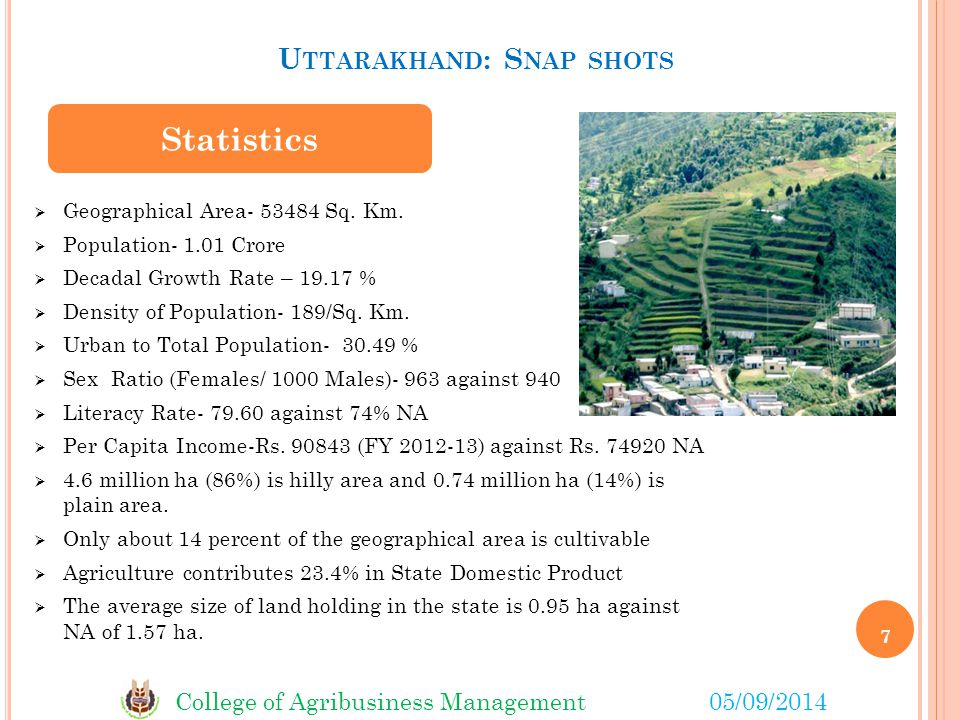 College of Agribusiness Management05/09/2014 U TTARAKHAND : S NAP SHOTS 7  Geographical Area- 53484 Sq.