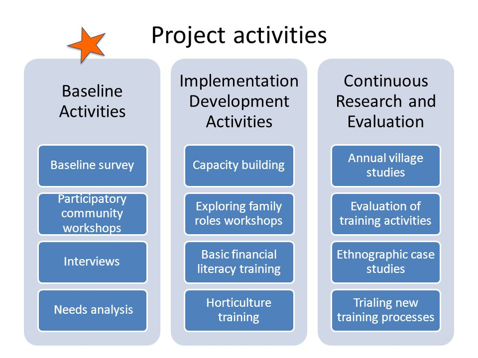 Project activities Baseline Activities Baseline survey Participatory community workshops Interviews Needs analysis Implementation Development Activities Capacity building Exploring family roles workshops Basic financial literacy training Horticulture training Continuous Research and Evaluation Annual village studies Evaluation of training activities Ethnographic case studies Trialing new training processes