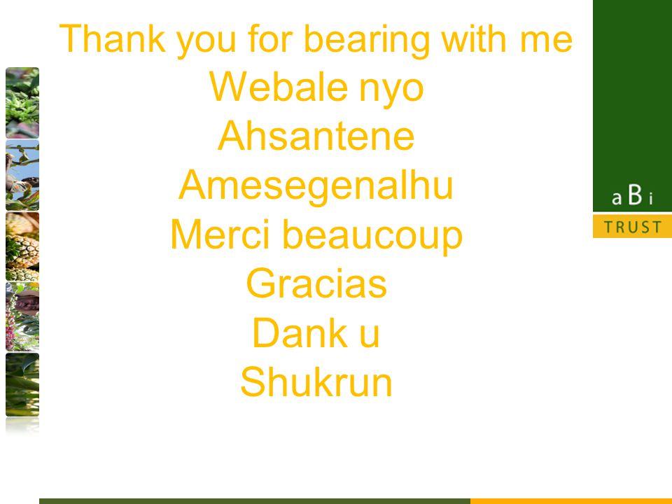 Thank you for bearing with me Webale nyo Ahsantene Amesegenalhu Merci beaucoup Gracias Dank u Shukrun