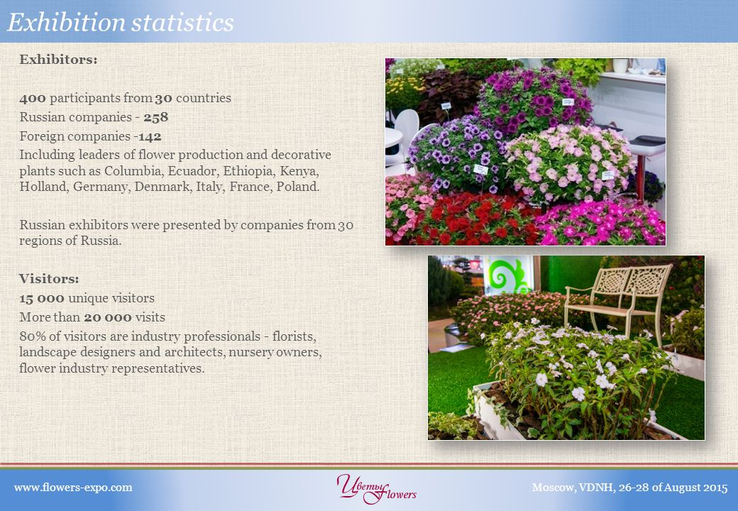 Exhibition statistics Exhibitors: 400 participants from 30 countries Russian companies - 258 Foreign companies -142 Including leaders of flower production and decorative plants such as Columbia, Ecuador, Ethiopia, Kenya, Holland, Germany, Denmark, Italy, France, Poland.
