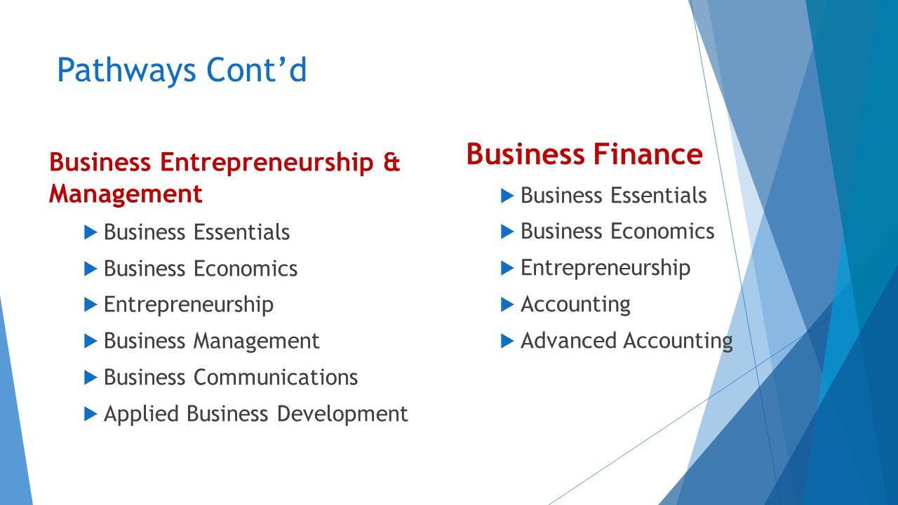 Pathways Cont'd Business Entrepreneurship & Management  Business Essentials  Business Economics  Entrepreneurship  Business Management  Business