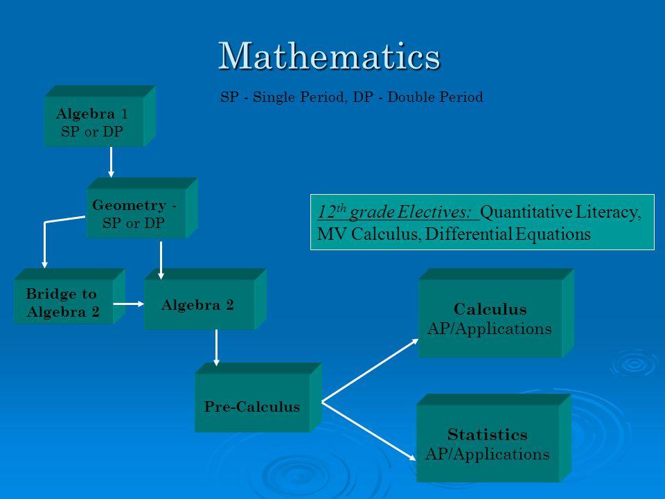 Mathematics Statistics AP/Applications Geometry - SP or DP Pre-Calculus Algebra 2 SP - Single Period, DP - Double Period 12 th grade Electives: Quantitative Literacy, MV Calculus, Differential Equations Bridge to Algebra 2 Algebra 1 SP or DP Calculus AP/Applications