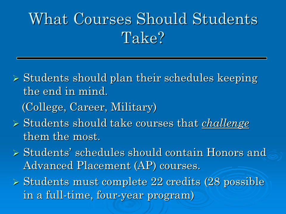 What Courses Should Students Take?  Students should plan their schedules keeping the end in mind. (College, Career, Military) (College, Career, Milit