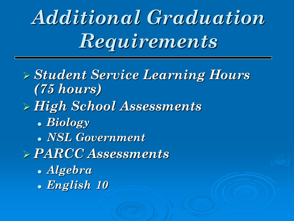  Student Service Learning Hours (75 hours)  High School Assessments Biology Biology NSL Government NSL Government  PARCC Assessments Algebra Algebr