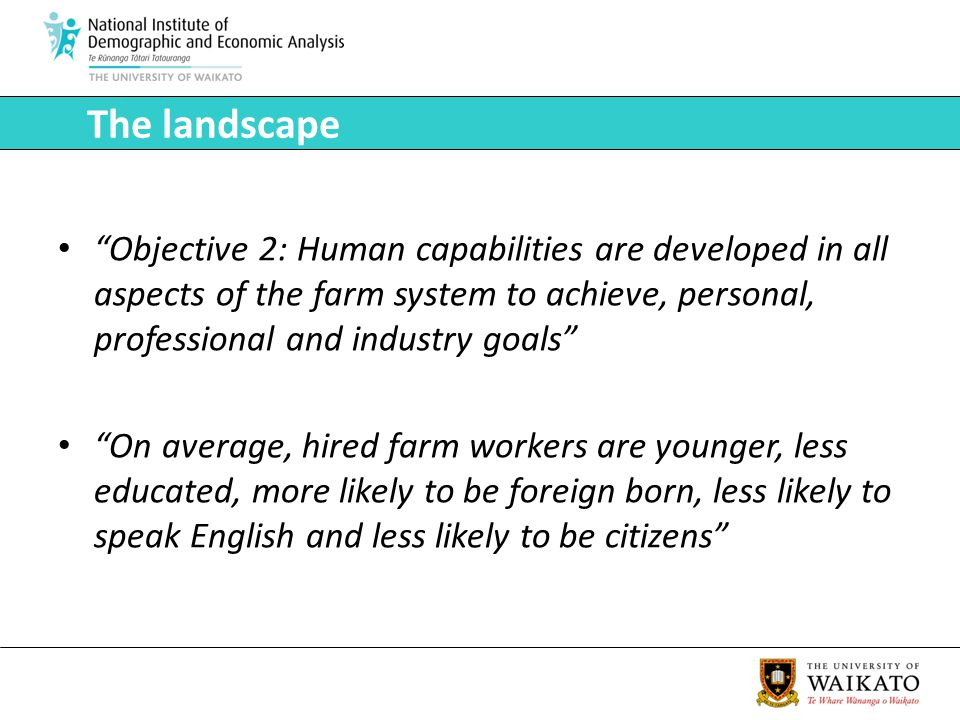Objective 2: Human capabilities are developed in all aspects of the farm system to achieve, personal, professional and industry goals On average, hired farm workers are younger, less educated, more likely to be foreign born, less likely to speak English and less likely to be citizens The landscape