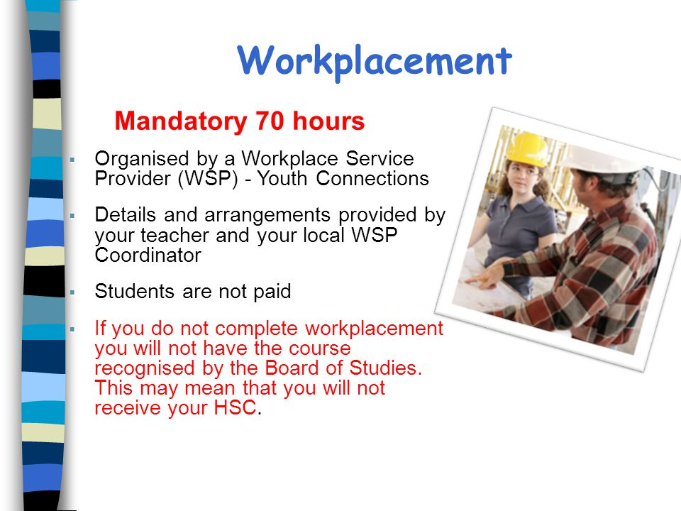 Workplacement Mandatory 70 hours Mandatory 70 hours  Organised by a Workplace Service Provider (WSP) - Youth Connections  Details and arrangements provided by your teacher and your local WSP Coordinator  Students are not paid  If you do not complete workplacement you will not have the course recognised by the Board of Studies.