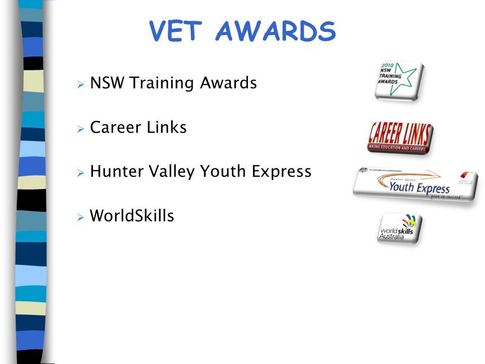 VET AWARDS  NSW Training Awards  Career Links  Hunter Valley Youth Express  WorldSkills