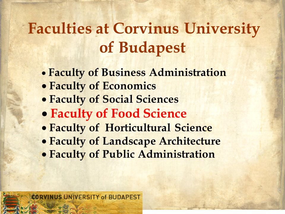  Faculty of Business Administration  Faculty of Economics  Faculty of Social Sciences  Faculty of Food Science  Faculty of Horticultural Science  Faculty of Landscape Architecture  Faculty of Public Administration Faculties at Corvinus University of Budapest
