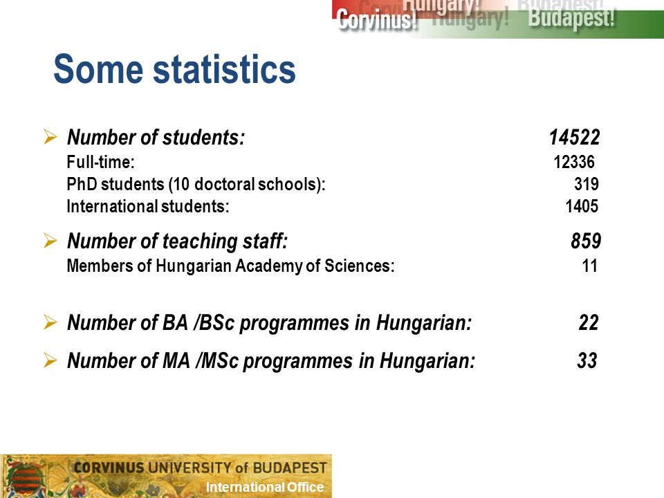 Some statistics  Number of students: 14522 Full-time: 12336 PhD students (10 doctoral schools): 319 International students: 1405  Number of teaching staff: 859 Members of Hungarian Academy of Sciences: 11  Number of BA /BSc programmes in Hungarian: 22  Number of MA /MSc programmes in Hungarian: 33 International Office