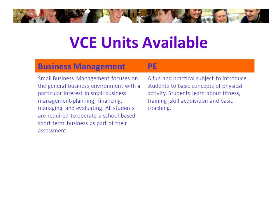 VCE Units Available Business ManagementPE Small Business Management focuses on the general business environment with a particular interest in small business management-planning, financing, managing and evaluating.