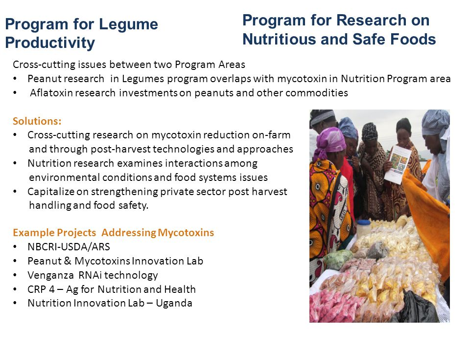 Mycotoxins – Cross-cutting, complex Requires multi-faceted solutions Distinct challenges for implementing solutions in each national context Productivity gains (esp.