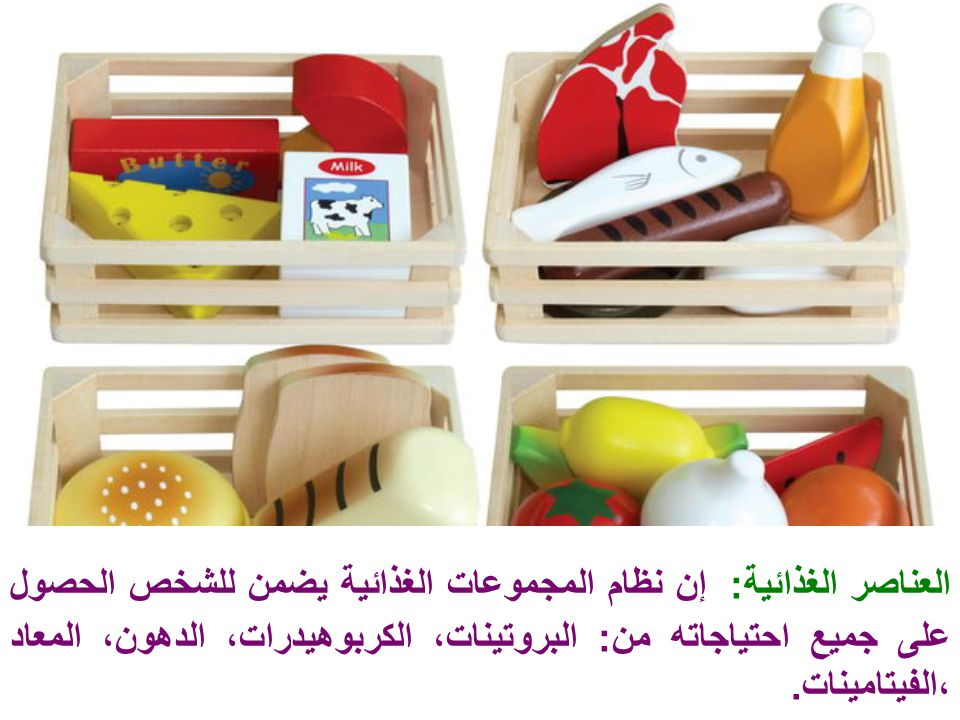 العناصر الغذائية: إن نظام المجموعات الغذائية يضمن للشخص الحصول على جميع احتياجاته من: البروتينات، الكربوهيدرات، الدهون، المعاد ،الفيتامينات.