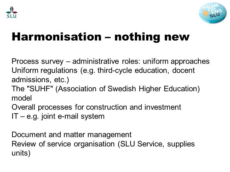 Harmonisation – nothing new Process survey – administrative roles: uniform approaches Uniform regulations (e.g.