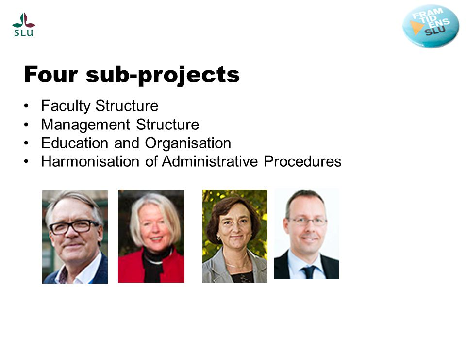 Four sub-projects Faculty Structure Management Structure Education and Organisation Harmonisation of Administrative Procedures