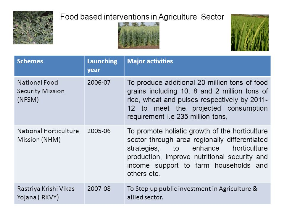 Food based interventions in Agriculture Sector SchemesLaunching year Major activities National Food Security Mission (NFSM) 2006-07 To produce additional 20 million tons of food grains including 10, 8 and 2 million tons of rice, wheat and pulses respectively by 2011- 12 to meet the projected consumption requirement i.e 235 million tons, National Horticulture Mission (NHM) 2005-06 To promote holistic growth of the horticulture sector through area regionally differentiated strategies; to enhance horticulture production, improve nutritional security and income support to farm households and others etc.