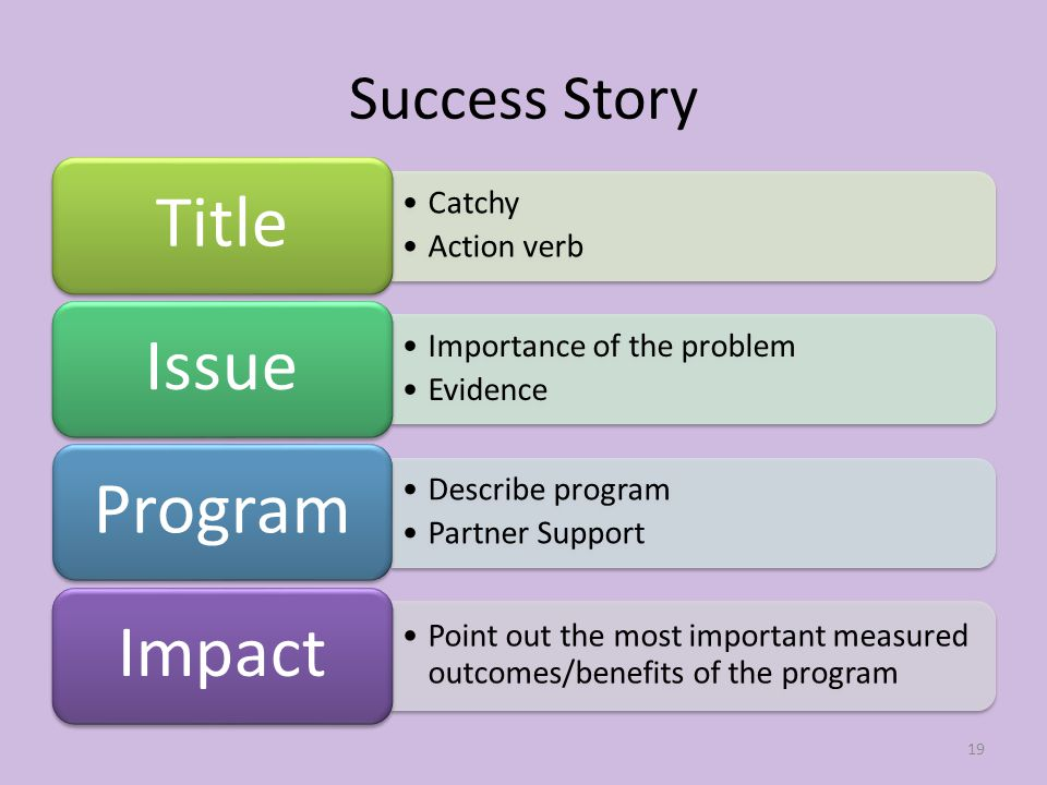 Success Story Catchy Action verb Title Importance of the problem Evidence Issue Describe program Partner Support Program Point out the most important measured outcomes/benefits of the program Impact 19