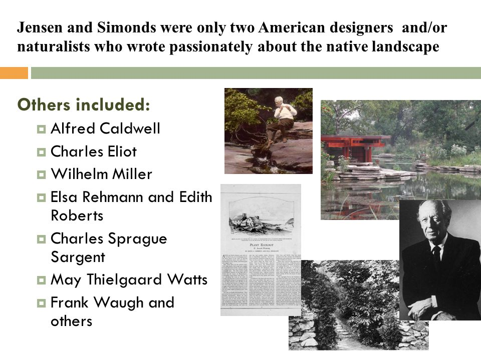 Jensen and Simonds were only two American designers and/or naturalists who wrote passionately about the native landscape Others included:  Alfred Cal