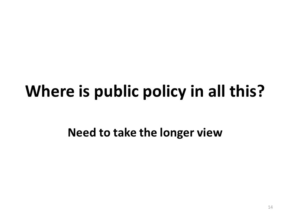 Where is public policy in all this Need to take the longer view 14