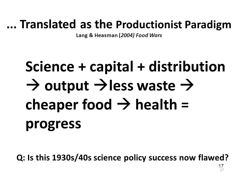17... Translated as the Productionist Paradigm Lang & Heasman (2004) Food Wars Science + capital + distribution  output  less waste  cheaper food 
