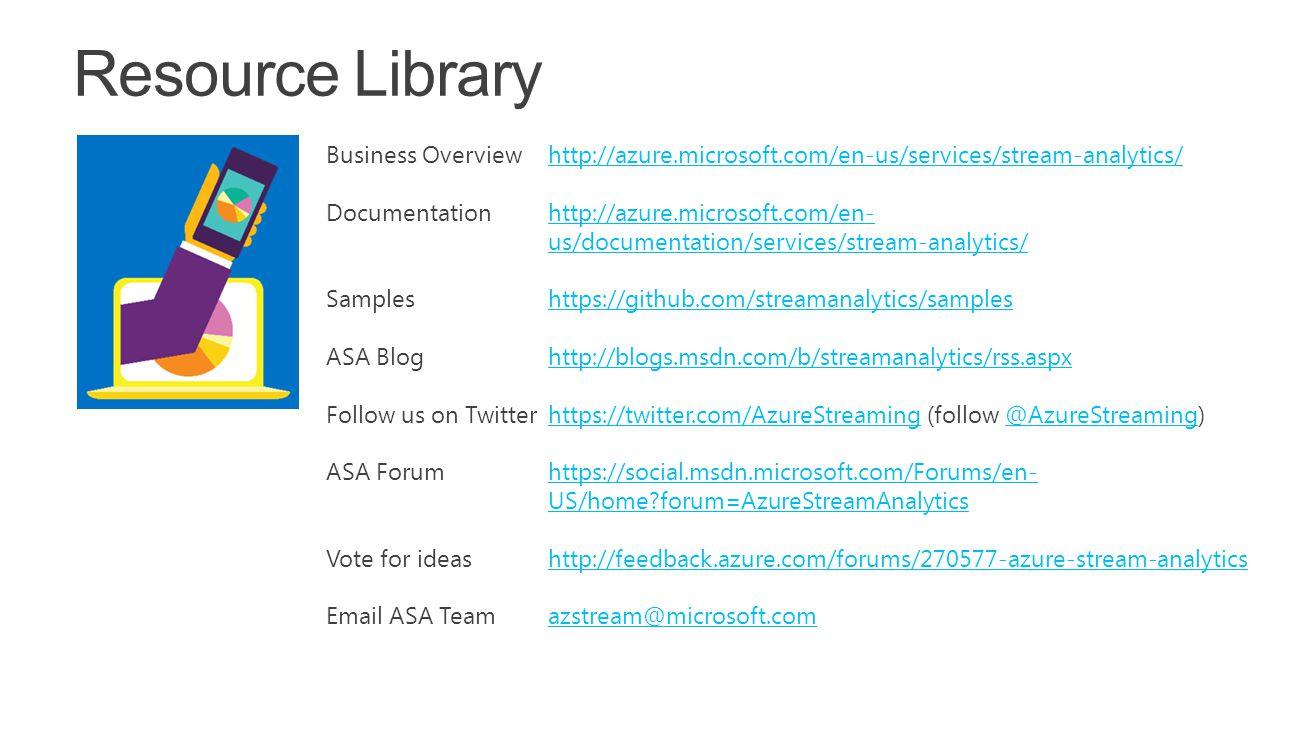 Business Overviewhttp://azure.microsoft.com/en-us/services/stream-analytics/http://azure.microsoft.com/en-us/services/stream-analytics/ Documentationh