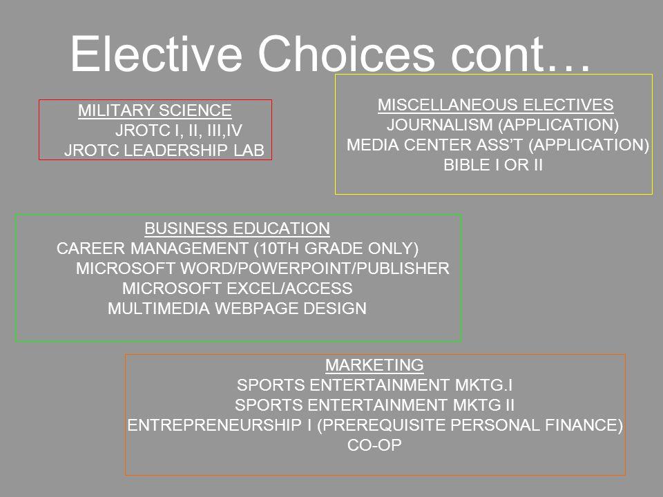 More Elective Choices… FAMILY & CONSUMER SCIENCES INTERIOR DESIGN I INTERIOR DESIGN II APPAREL DEVELOPMENT I APPAREL DEVELOPMENT II PERSONAL FINANCE (11TH & 12TH GRADE ONLY) AGRI.