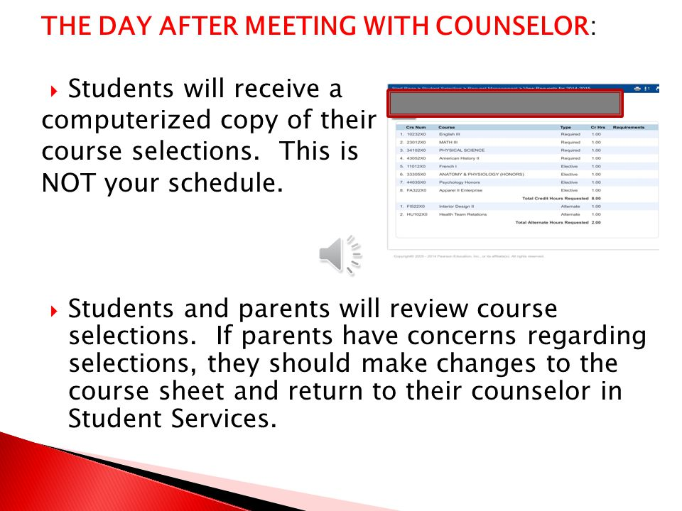  Using all the information you have been provided: - Draft Course selection sheet -Transcript -WCPSS Program Planning guide -Teacher Recommendation Sheet -Guidance from your Counselor Students will make course selections on their colored Course Selection sheets.