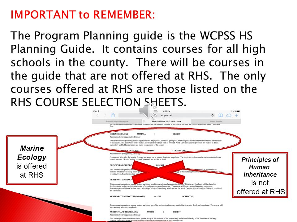 The Planning Guide contains COURSE DESCRIPTIONS and PREREQUISITES for each course offered at RHS.
