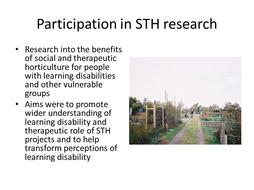 Participation in STH research Research into the benefits of social and therapeutic horticulture for people with learning disabilities and other vulnerable groups Aims were to promote wider understanding of learning disability and therapeutic role of STH projects and to help transform perceptions of learning disability