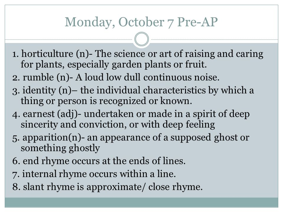 Monday, October 7 Pre-AP 1.