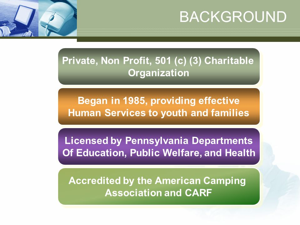 BACKGROUND Private, Non Profit, 501 (c) (3) Charitable Organization Private, Non Profit, 501 (c) (3) Charitable Organization Began in 1985, providing effective Human Services to youth and families Began in 1985, providing effective Human Services to youth and families Licensed by Pennsylvania Departments Of Education, Public Welfare, and Health Licensed by Pennsylvania Departments Of Education, Public Welfare, and Health Accredited by the American Camping Association and CARF Accredited by the American Camping Association and CARF