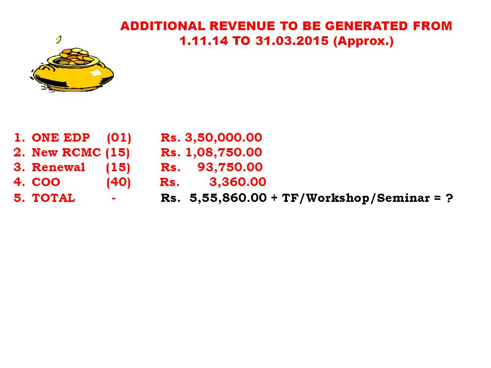 ADDITIONAL REVENUE TO BE GENERATED FROM 1.11.14 TO 31.03.2015 (Approx.) 1.ONE EDP (01) Rs. 3,50,000.00 2.New RCMC (15) Rs. 1,08,750.00 3.Renewal (15)