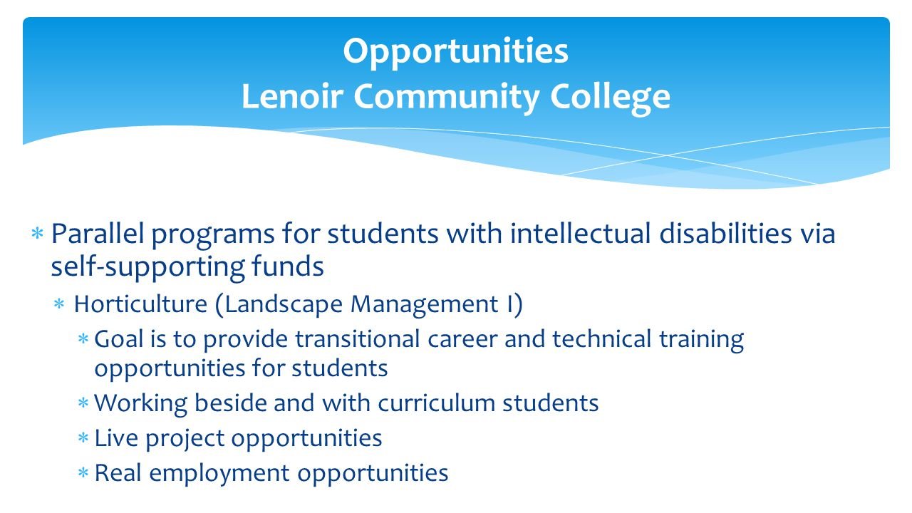  Parallel programs for students with intellectual disabilities via self-supporting funds  Horticulture (Landscape Management I)  Goal is to provide transitional career and technical training opportunities for students  Working beside and with curriculum students  Live project opportunities  Real employment opportunities Opportunities Lenoir Community College